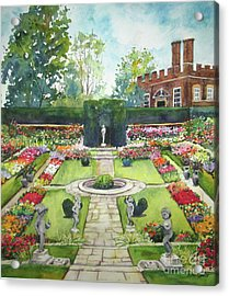 Acrylic Print featuring the painting Garden At Hampton Court Palace by Susan Herbst