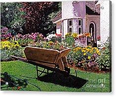 Garden At Patio Lane Acrylic Print by David Lloyd Glover