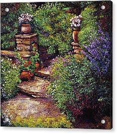 Garden At Villa Verona Acrylic Print by David Lloyd Glover