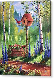 Garden Birdhouse Acrylic Print by David G Paul