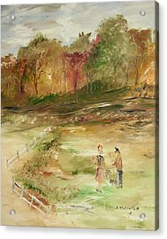 Garden By The Fence Acrylic Print by Edward Wolverton
