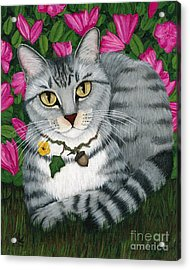 Acrylic Print featuring the painting Garden Cat - Silver Tabby Cat Azaleas by Carrie Hawks