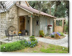 Garden Cottage Acrylic Print by Kathy Adams Clark