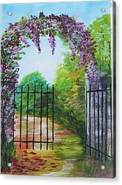 Acrylic Print featuring the painting Garden Entrance by Trilby Cole