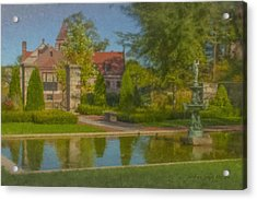 Garden Fountain At Ames Free Library Acrylic Print