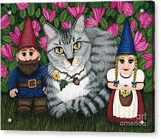 Garden Friends - Tabby Cat And Gnomes Acrylic Print
