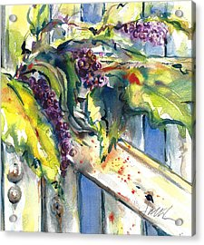 Garden Gate In Fall With Poke Berries  Acrylic Print