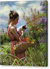 Acrylic Print featuring the painting Garden Gatherings by Steve Henderson