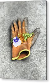 Garden Glove And Pansy Blossoms1 Acrylic Print