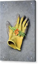 Garden Glove And Pansy Blossom2 Acrylic Print
