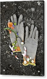 Garden Gloves And Flower Blossoms Acrylic Print