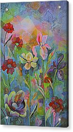 Garden Of Intention - Triptych Center Panel Acrylic Print by Shadia Derbyshire