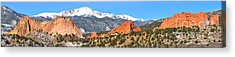 Acrylic Print featuring the photograph Garden Of The Gods Red Rock Panorama by Adam Jewell