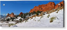 Acrylic Print featuring the photograph Garden Of The Gods Snowy Blue Sky Panorama by Adam Jewell