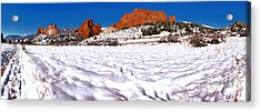 Acrylic Print featuring the photograph Garden Of The Gods Snowy Morning Panorama by Adam Jewell
