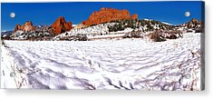 Acrylic Print featuring the photograph Garden Of The Gods Snowy Morning Panorama Crop by Adam Jewell