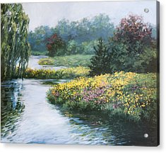 Garden On Water Acrylic Print by Laurie Hein