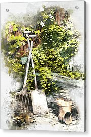 Acrylic Print featuring the digital art Garden Seat by Shanina Conway