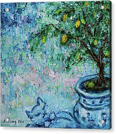 Acrylic Print featuring the painting Garden Sleeping Cat by Xueling Zou