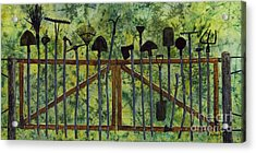 Acrylic Print featuring the painting Garden Tools by Hailey E Herrera