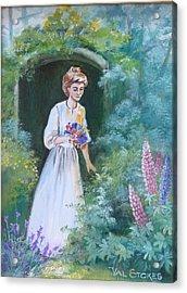 Garden Walk - B Acrylic Print by Val Stokes