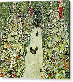 Garden With Chickens Acrylic Print by Gustav Klimt