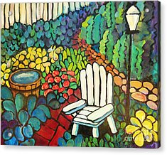 Garden With Lamp By Peggy Johnson Acrylic Print