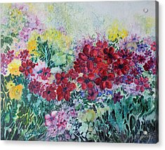Acrylic Print featuring the painting Garden With Reds by Joanne Smoley