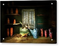 Acrylic Print featuring the photograph Gardener - The Potters Shed by Mike Savad