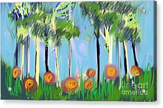 Acrylic Print featuring the digital art Gardenscape 1 by Elaine Lanoue