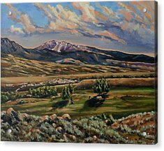 Gardiner And Electric Peak From Scotty's Place Acrylic Print
