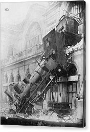 Gare Montparnasse Train Wreck 1895 Acrylic Print by Photo Researchers