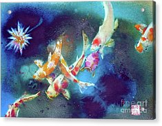 Garland Of Koi Fishes Acrylic Print by Andre MEHU