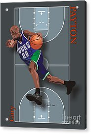 Gary Payton Acrylic Print by Walter Oliver Neal