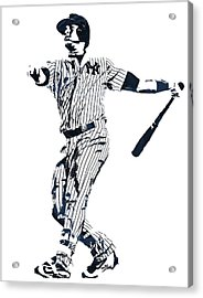 Gary Sanchez New York Yankees Pixel Art 1 Acrylic Print by Joe Hamilton