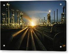 Gas Fires Light The Sky As A Heavily Acrylic Print by Thomas J. Abercrombie