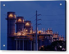 Acrylic Print featuring the photograph Gas Power Plant At Night by Bradford Martin