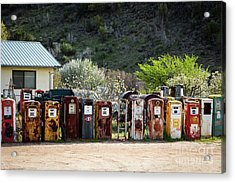 Antique Gas Pumps All In A Row Acrylic Print