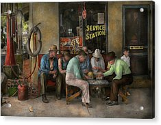 Gas Station - Playing Checkers Together 1939 Acrylic Print by Mike Savad