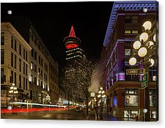 Gastown In Vancouver Bc At Night Acrylic Print