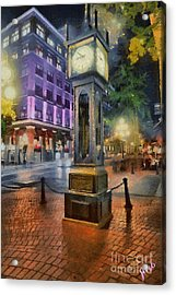 Acrylic Print featuring the digital art Gastown Sreamclock 1 by Jim  Hatch
