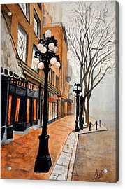 Acrylic Print featuring the painting Gastown, Vancouver by Sher Nasser