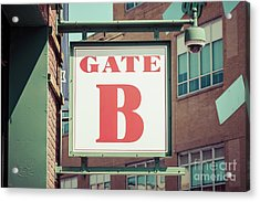 Gate B Sign At Boston Fenway Park Acrylic Print by Paul Velgos