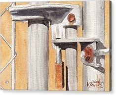 Gate Lock Acrylic Print by Ken Powers