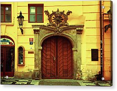 Acrylic Print featuring the photograph Gates Of Sun. Series Golden Prague by Jenny Rainbow