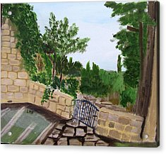 Acrylic Print featuring the painting Gate's Open, Come In by Linda Feinberg