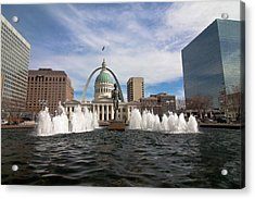 Gateway Arch And Old Courthouse In St. Louis Acrylic Print