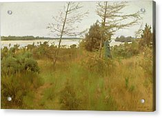 Gathering Firewood By The Shore Of A Lake Acrylic Print by Alexander Mann