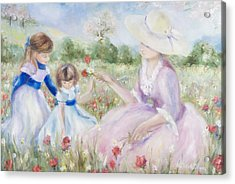 Gathering Flowers Acrylic Print by Victoria  Shea