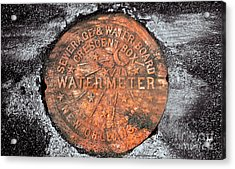 New Orleans Water Meter Cover 9 Months After Katrina Acrylic Print by Pringle Teetor